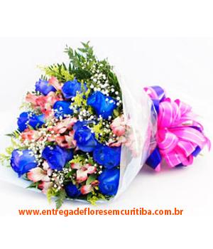 Cód: 5607                                            Buquê 15 Rosas Azuis