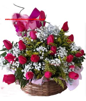 Cód: 5145                           Cesta 24 Rosas Pink