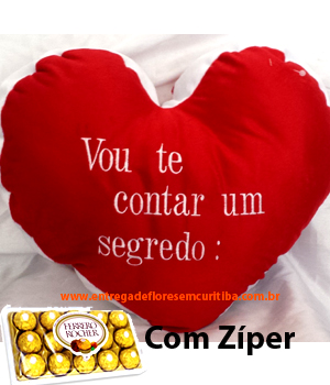 Cód: 5583 Pelúcia com Zíper Escrito Eu Te Amo Dentro + Chocolate