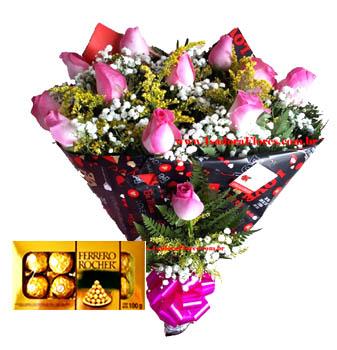 Cód: 5156                                              Buquê rosas Pink+Ferrero